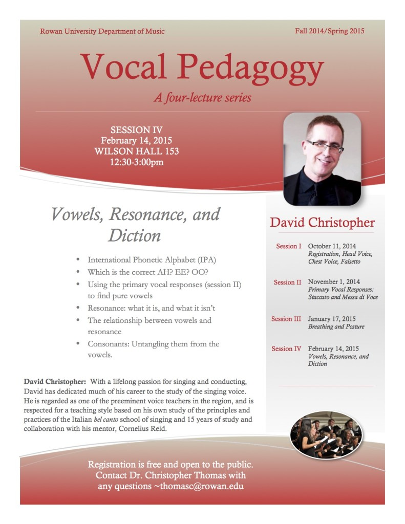 Vocal Pedagogy Session IV